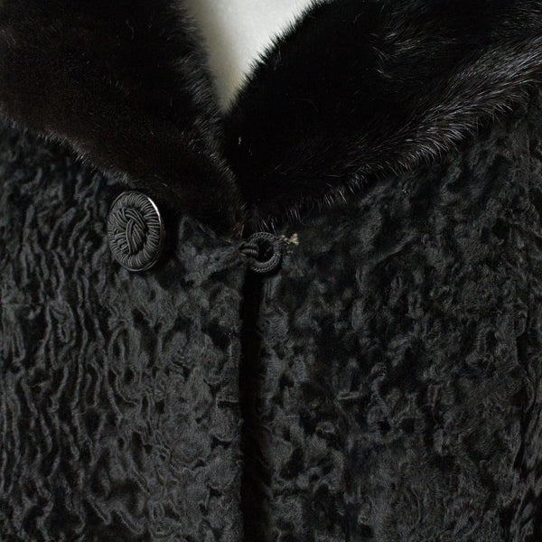 Black Persian Lamb Fur Jacket with Ranch Mink Collar - Size S