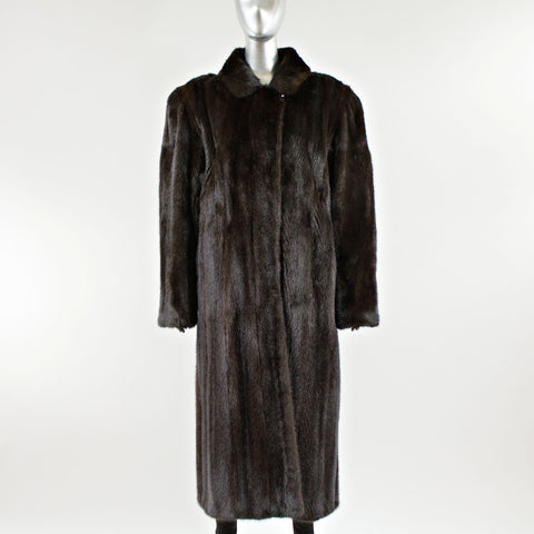 Dark Mahogany Mink Fur Coat with Belt - Size L