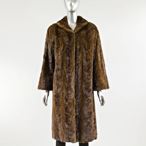 Mahogany Section Mink Fur Coat - Size XS
