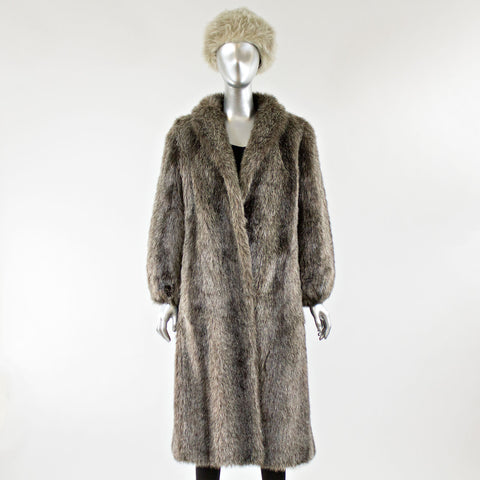Faux Fur Coat with FREE Lamb Fur Hat - Size S