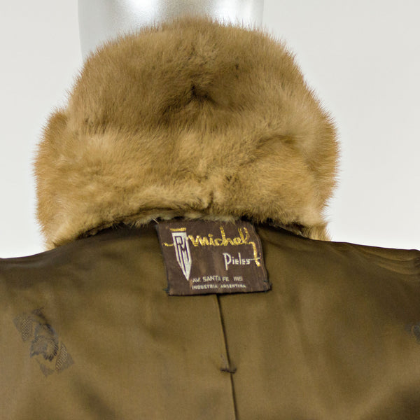 Sheared Muskrat Fur Stroller with Mink Fur Collar - Size XS