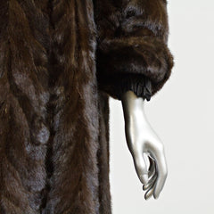 Brown Section Mink Fur Coat - Size XS/S