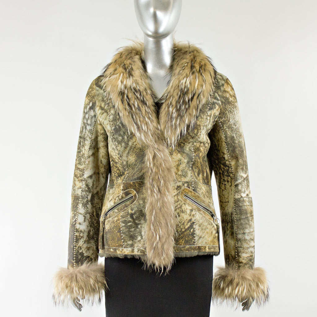 Brown Marble Shearing Jacket With Raccoon Fur Collar
