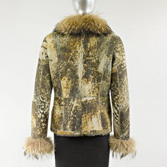 Brown Marble Shearing Jacket with Raccoon Fur Collar - Size S