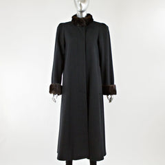Black Wool Coat with Mink Fur Collar and Cuff - Size M