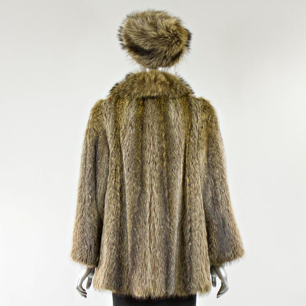 Raccoon Fur Jacket with FREE Hat - Size XS