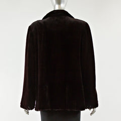 Dyed Black Cherry Sheared Mink Fur Jacket - Size M