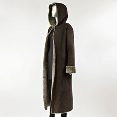 Chocolate Shearing Fur Coat with Hood - Size M