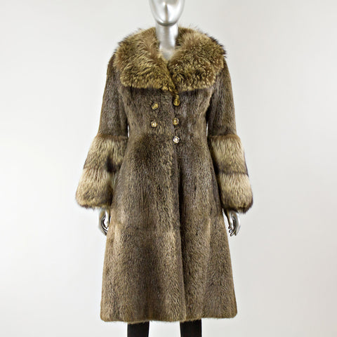 Nutria Fur Coat with Raccoon Collar and Cuff - Size XS