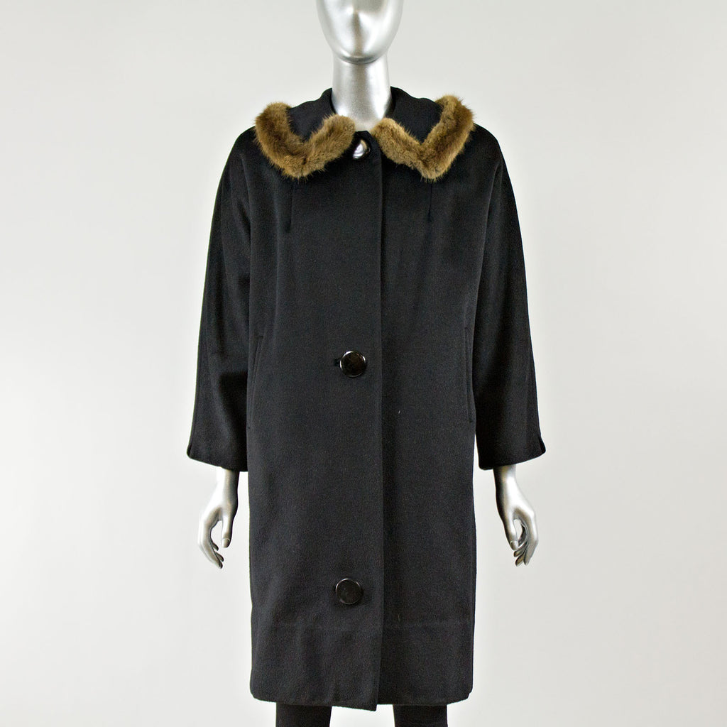Black Fabric Coat with Mink Fur Collar Trim - Size XS
