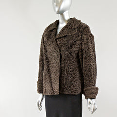 Brown Persian Lamb Fur Jacket - Size S