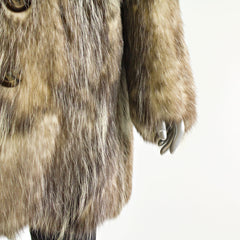 Men Long Hair Opossum Coat 3/4 - Size S