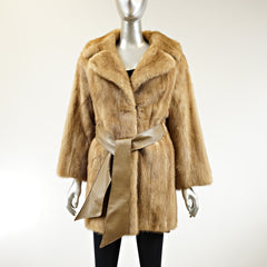 Autumn Haze Mink Fur 3/4 Coat with Belt - Size S - Pre-Owned