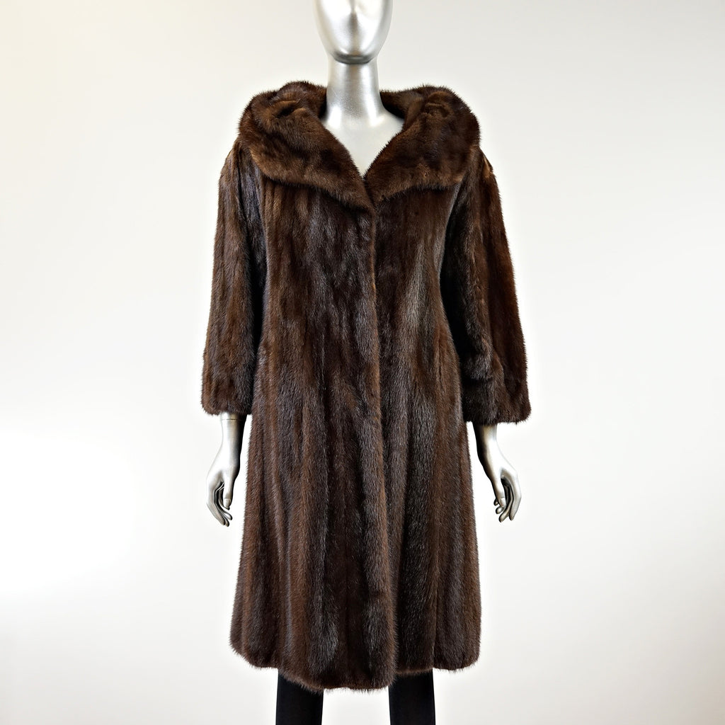 Mahogany Mink Fur Coat 7/8 - Size S - Pre-Owned
