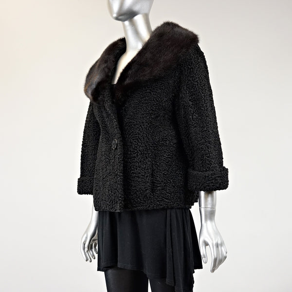 Persian Lamb Fur Jacket With Mink Fur Collar - Size S - Pre-Owned