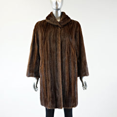 Mahogany Mink Fur with Belt Stroller - Size S - Pre-Owned