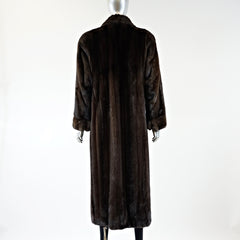 Dark Mahogany Mink Fur Coat - Size S - Pre-Owned