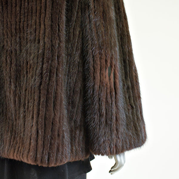 Brown Corded Mink Fur Jacket with Mink Fur Collar - Size S/M - Pre-Owned