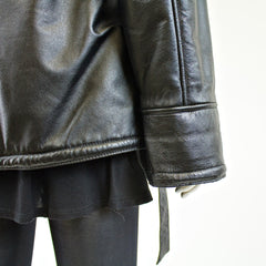 Black Leather with Faux Fur Lining Jacket - Size M - Pre-Owned