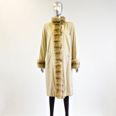 Gold Sheared Mink Fur Reversible with Sable Trim Coat - Size S - Pre-Owned