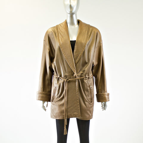 Bronze Leather Jacket - Size M - Pre-Owned