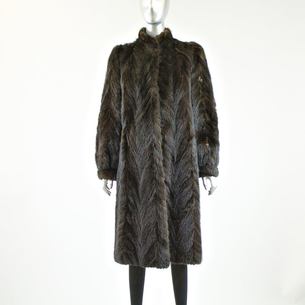Mahogany Mink Tail Fur Coat - Size S - Pre-Owned