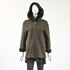 Brown Lamb Shearling Fur Jacket with Detachable Hood - Size XS - Pre-Owned