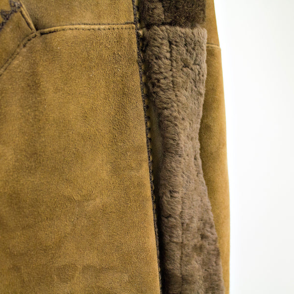 Camel Shearling Fur Coat - Size S - Pre-Owned