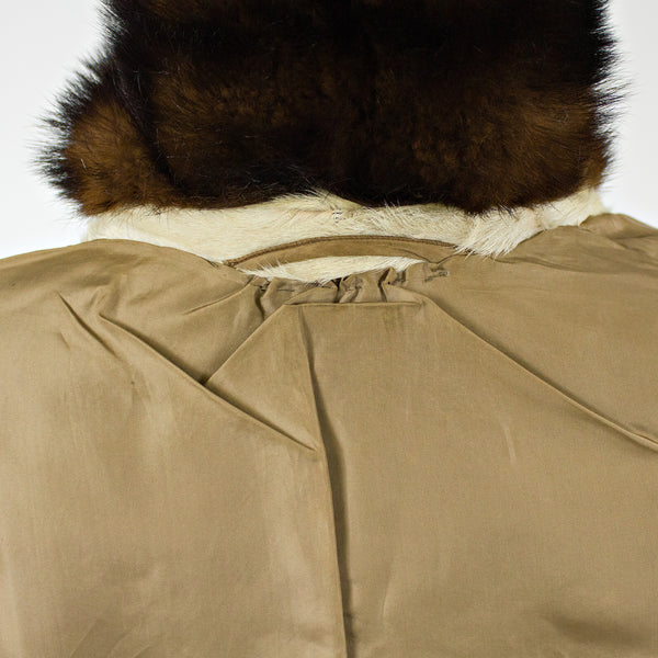 Beige GoatKid Skin with Mink Fur Collar Jacket - Size S - Pre-Owned