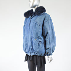Blue Jeans with Dyed Opossum Fur Lining Jacket - Size M - Pre-Owned