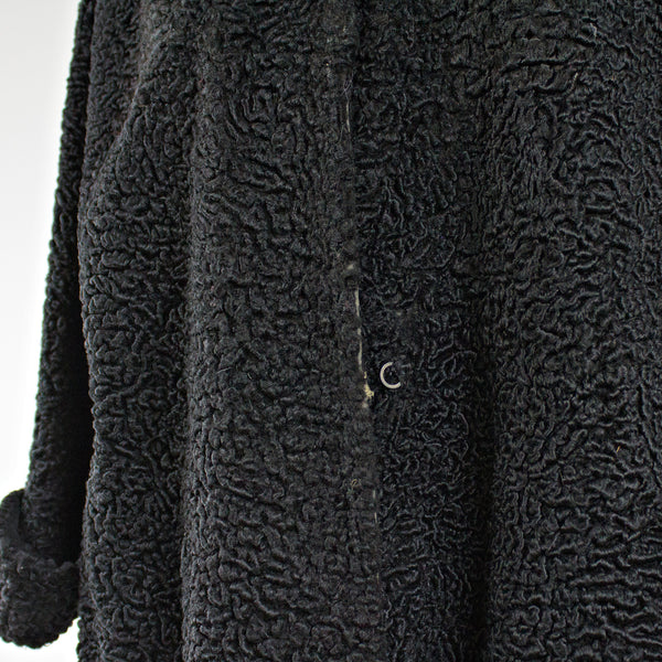 Black Persian Lamb Fur Coat With Belt - Size S - Pre-Owned