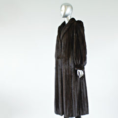 Dark Mahogany Mink Fur Coat - Size M - Pre-Owned