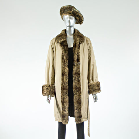 Reversible 3/4 Coat with Mink Fur Tuxedo/Cuffs w Faux Hat - Size S - Pre-Owned