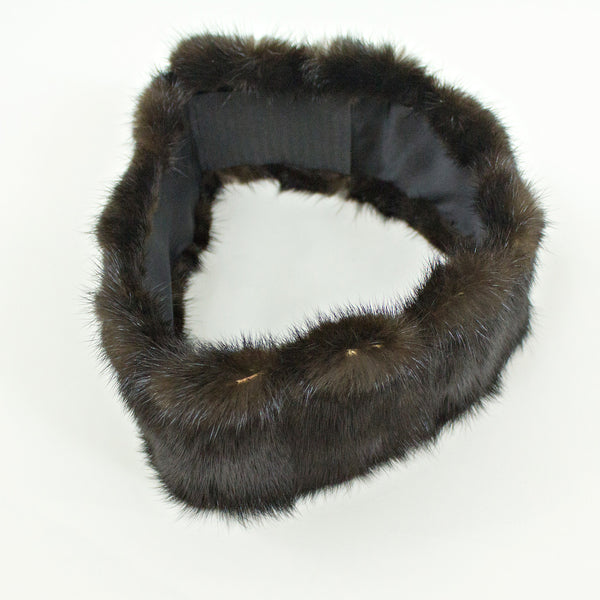 Ranch Mink Fur Coat with Headband - Size S