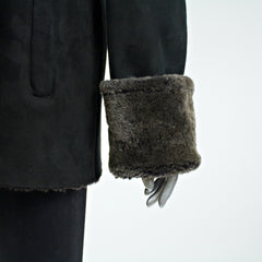 Black Shearling Fur Jacket - Size S