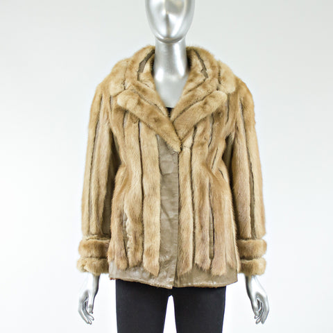 Autumn Haze Mink Fur Jacket with Leather Inserts - Size XS/S