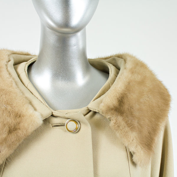 Tan Cloth with Mink Fur Collar Coat - Size S/M