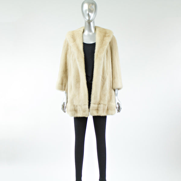 Cream Mink Fur Jacket - Size S