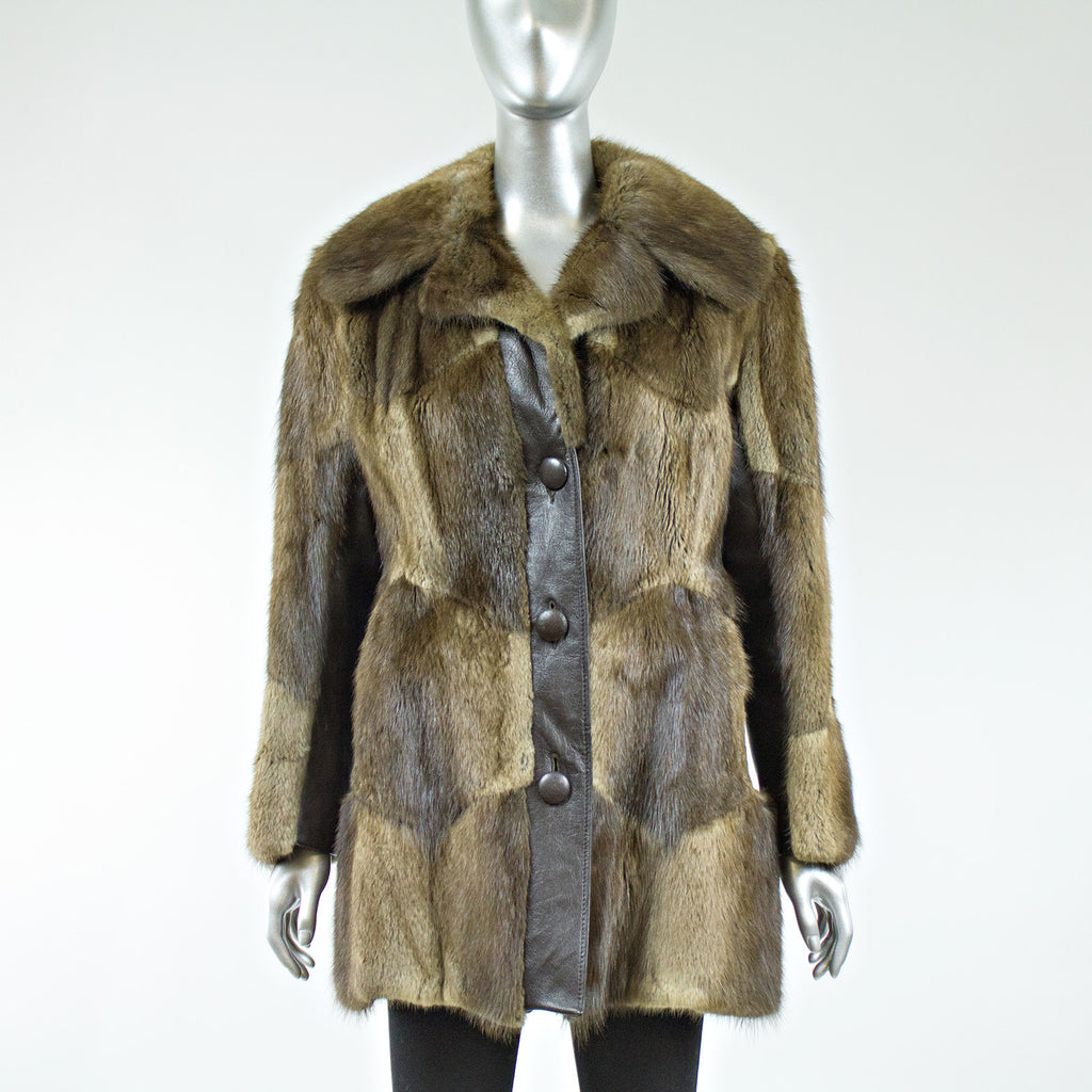 Muskrat Fur with Leather Insert Jacket with Belt - Size S