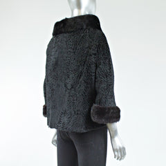 Black Persian Lamb Fur Jacket - Size XS