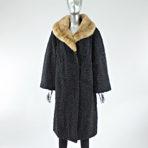 Black Persian Lamb Fur Coat with Pastel Mink Fur Collar - Size S