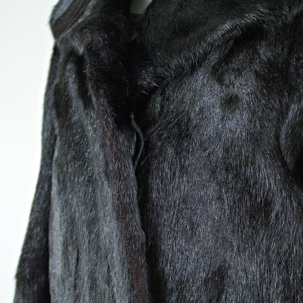 Black Goat Fur Coat - Size S