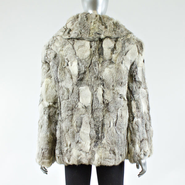 Grey Section Rabbit Fur Jacket - Size S