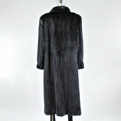 Ranch Mink Fur Coat with Chevron Sections - Size L