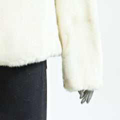 White Faux Fur Jacket - Size M