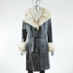 Black Leather with Blue Fox Fur Collar and Cuffs Coat - Size S