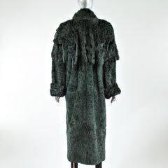 Black and Green Rabbit Fur Animal Printed Detachable Collar Coat - Size M