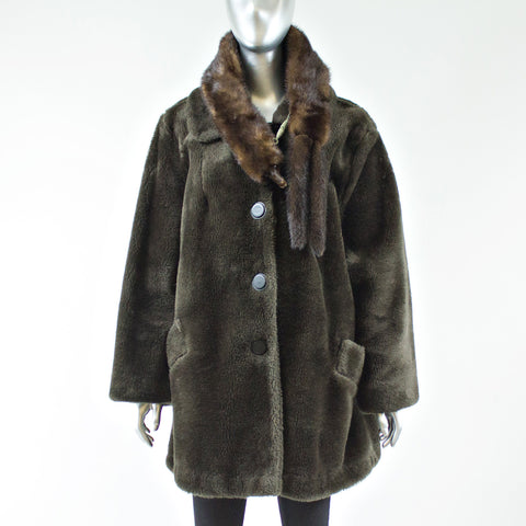 Brown Faux Fur Jacket with Full Skin Mink Scarf - Size M