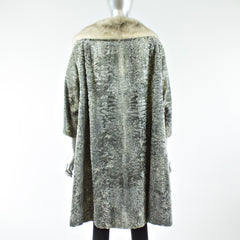Grey Broadtail Lamb Coat with Mink Fur Collar - Size S