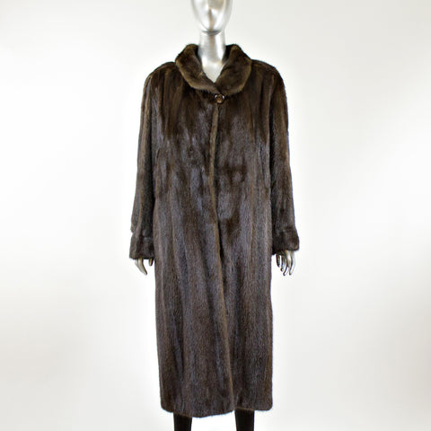 Mahogany Mink Fur Coat with Half Belt - Size S/M